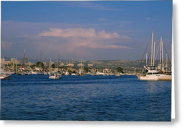 California Ocean Photography Greeting Cards - Boats At A Harbor, Newport Beach Greeting Card by Panoramic Images