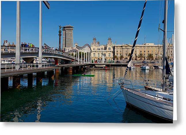 Masts Greeting Cards - Boats At A Harbor, Port Vell Greeting Card by Panoramic Images