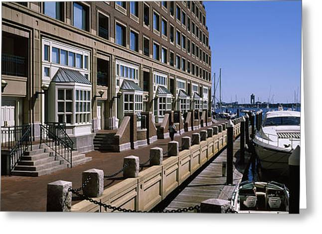 Reflections Of Sky In Water Greeting Cards - Boats At A Harbor, Rowes Wharf, Boston Greeting Card by Panoramic Images
