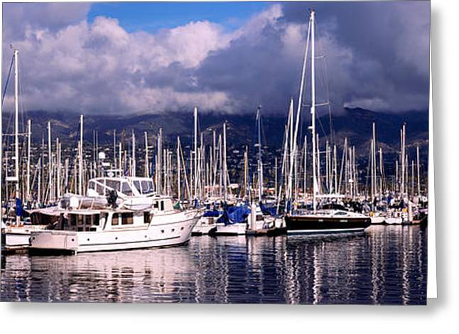 Docked Sailboat Greeting Cards - Boats At A Harbor, Santa Barbara Greeting Card by Panoramic Images