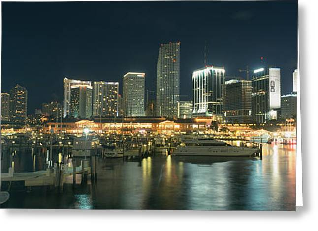 Yacht Basin Greeting Cards - Boats At A Harbor With Buildings Greeting Card by Panoramic Images