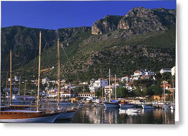 Blue Sailboat Greeting Cards - Boats At A Marina, Kas, Antalya Greeting Card by Panoramic Images
