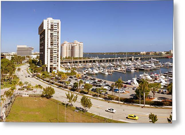 Beach Photography Greeting Cards - Boats At A Marina, West Palm Beach Greeting Card by Panoramic Images