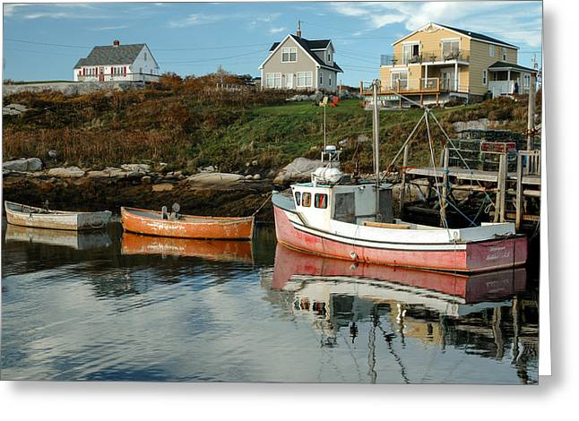 Nova Scotia Greeting Cards - Boats at a small wharf. Peggys Cove. Greeting Card by Rob Huntley