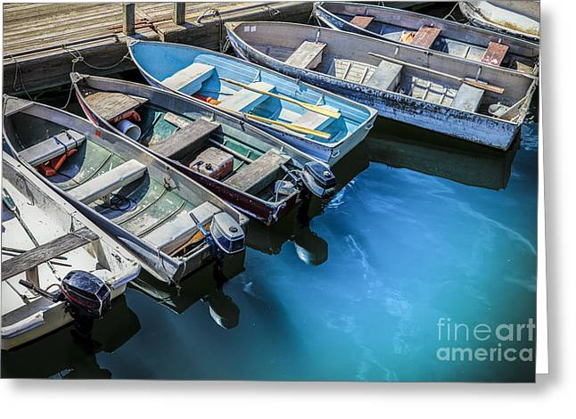 Dinghy Greeting Cards - Boats at Bar Harbor Maine Greeting Card by Diane Diederich