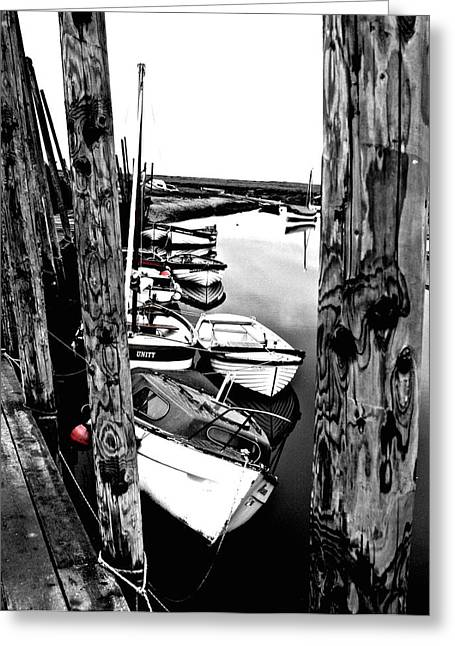 Boats On Water Digital Greeting Cards - Boats at Blakeney Quay Greeting Card by Sally Lloyd