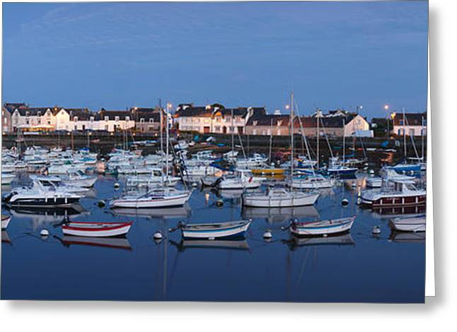Docked Boats Greeting Cards - Boats At Dock, Le Guilvinec, Finistere Greeting Card by Panoramic Images