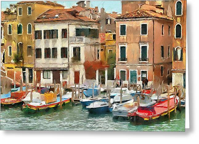 Venice Tour Greeting Cards - Boats at Grand Canal Venice Greeting Card by Yury Malkov