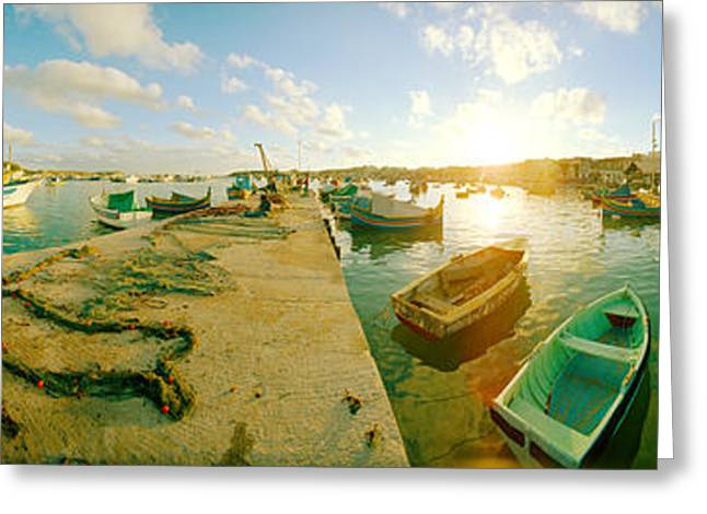 Boats In Harbor Greeting Cards - Boats At Harbor, Malta Greeting Card by Panoramic Images