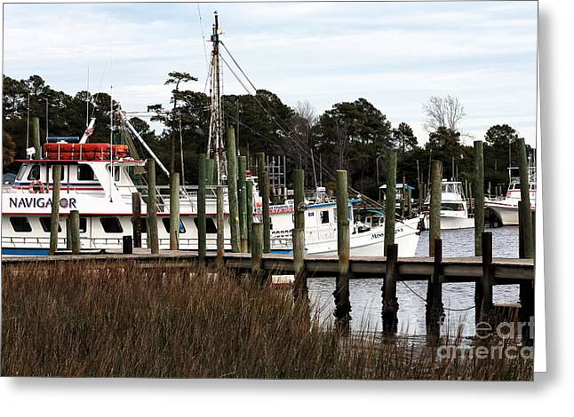 Boats At Dock Greeting Cards - Boats at Little River Greeting Card by John Rizzuto