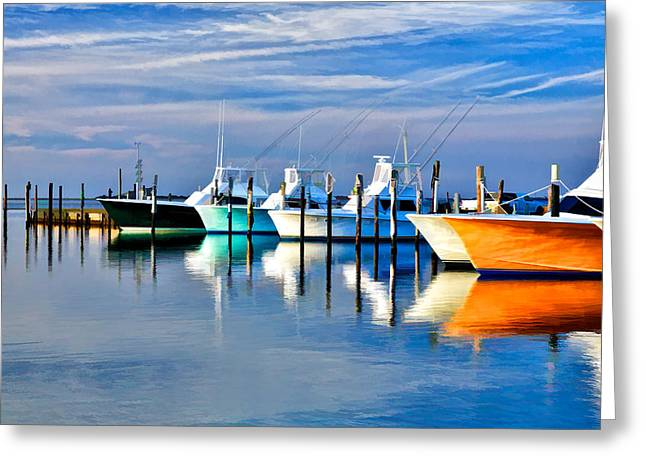 Recently Sold -  - Commercial Photography Greeting Cards - Boats at Oregon Inlet Outer Banks II Greeting Card by Dan Carmichael