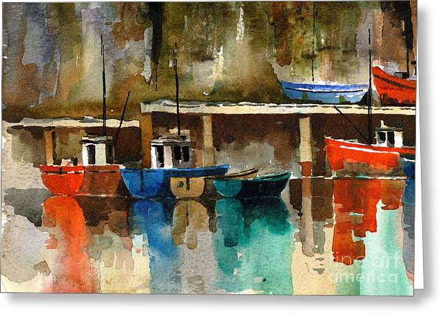 Val Byrne Greeting Cards - Boats at rest  Dunmore East  Wateford Greeting Card by Val Byrne