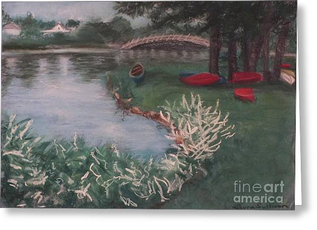 Row Pastels Greeting Cards - Boats at Spring Lake Park Greeting Card by Laura Sullivan