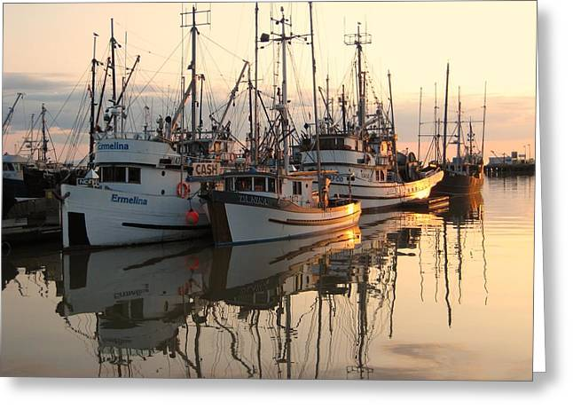 Dark Grey Greeting Cards - Boats at Steveston Harbour  Greeting Card by Shirley Sirois