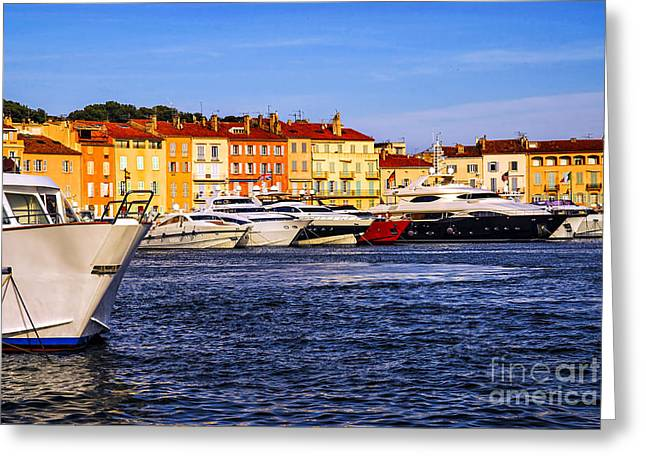 Docked Sailboat Greeting Cards - Boats at St.Tropez harbor Greeting Card by Elena Elisseeva