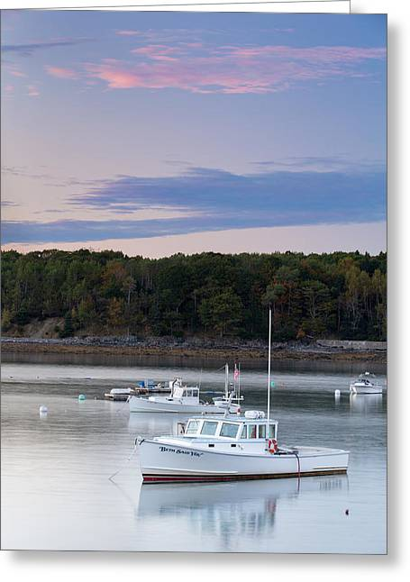 Cape Neddick Lighthouse Greeting Cards - Boats at sunset Greeting Card by Emmanuel Panagiotakis