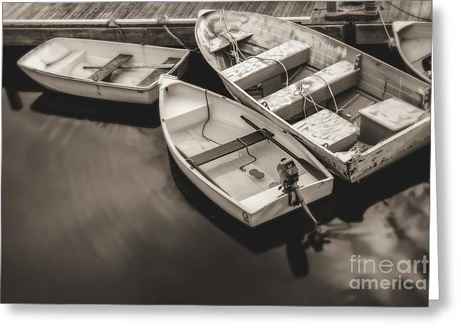 Dinghy Greeting Cards - Boats at the Dock Greeting Card by Diane Diederich
