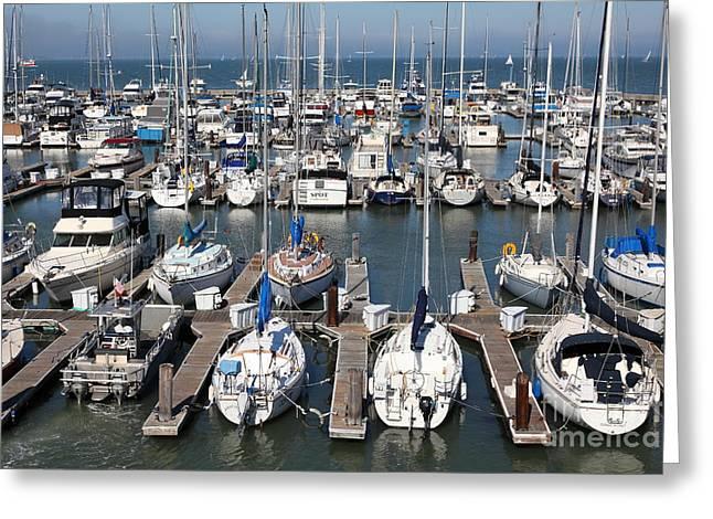San Francisco Bay Greeting Cards - Boats at The San Francisco Pier 39 Docks 5D26009 Greeting Card by Wingsdomain Art and Photography