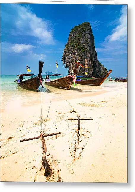 Water Vessels Greeting Cards - Boats At Tropical Beach. Thailand Greeting Card by Perfect Lazybones