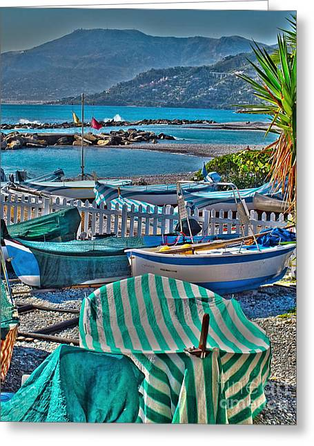 Italian Riveria Greeting Cards - Boats at Ventimiglia Greeting Card by Karen Lewis
