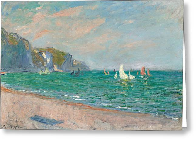 Masterpiece Paintings Greeting Cards - Boats Below the Pourville Cliffs Greeting Card by Claude Monet