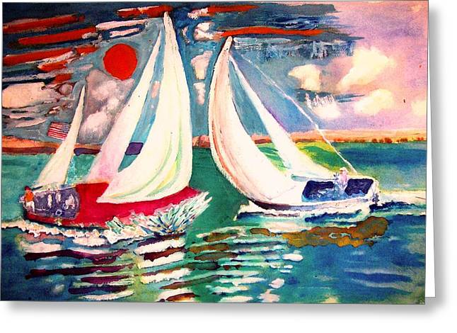 Sailboat Images Paintings Greeting Cards - Boats Bump Greeting Card by David Cullen