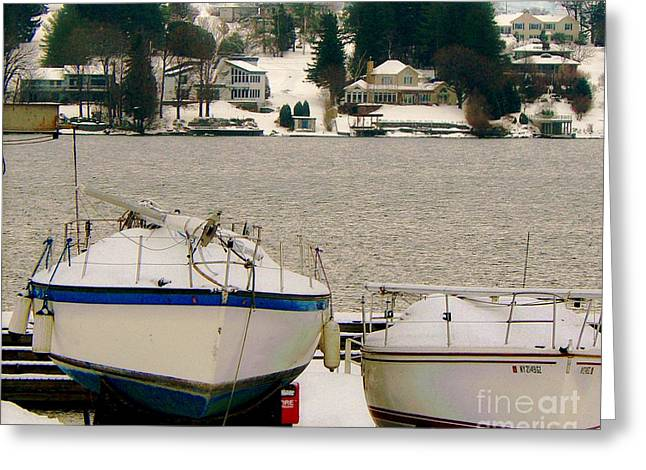 Skaneateles Greeting Cards - Boats by Skaneateles Lake New York Greeting Card by Diana Besser