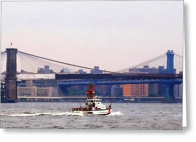 Boats Greeting Cards - Boats - Coast Guard Cutter Near Brooklyn Bridge Greeting Card by Susan Savad