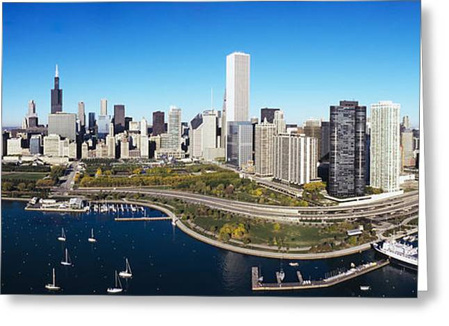Yacht Club Greeting Cards - Boats Docked At A Harbor, Chicago Greeting Card by Panoramic Images
