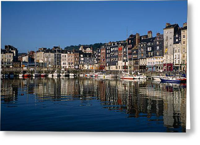 Boats Docked At A Harbor, Honfleur Greeting Card by Panoramic Images