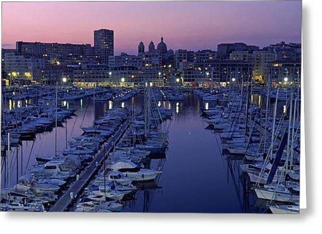 Masts Greeting Cards - Boats Docked At A Harbor, Marseille Greeting Card by Panoramic Images