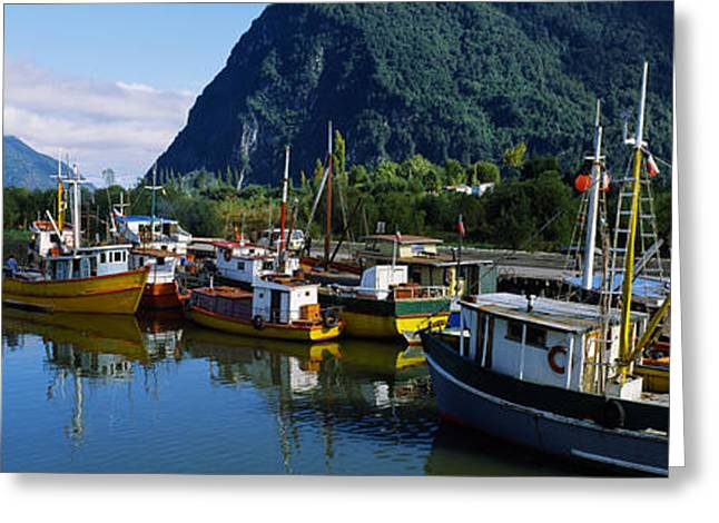 Masts Greeting Cards - Boats Docked At A Harbor, Puerto Aisen Greeting Card by Panoramic Images
