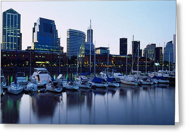 Buenos Aires Greeting Cards - Boats Docked At A Harbor, Puerto Greeting Card by Panoramic Images