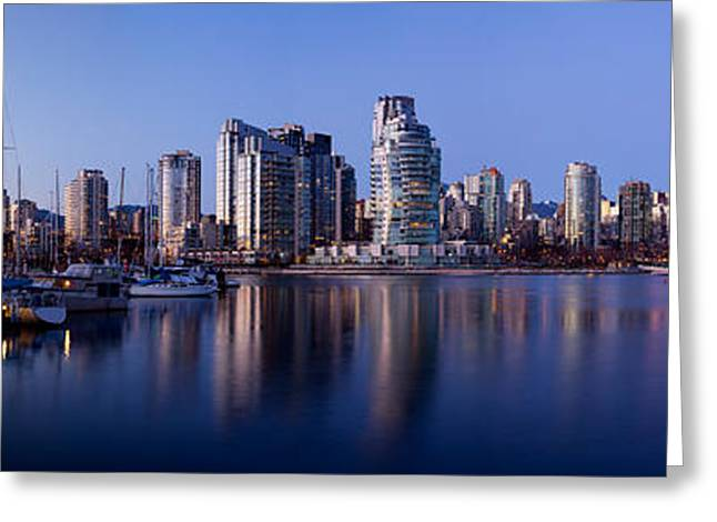 Boats Docked At A Harbor, Yaletown Greeting Card by Panoramic Images