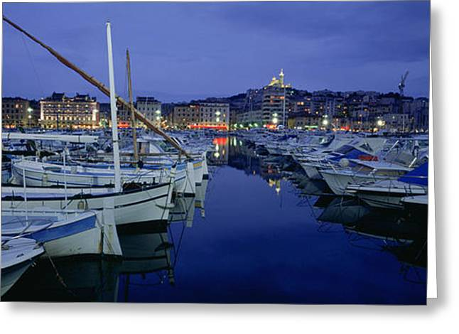 Boats Docked At A Port, Old Port Greeting Card by Panoramic Images