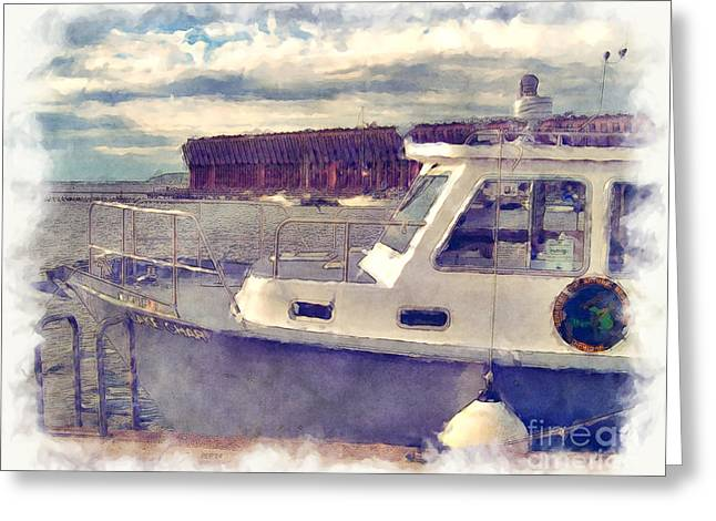 Docked Sailboat Mixed Media Greeting Cards - Boats Docked At Marquette Harbor Greeting Card by Phil Perkins