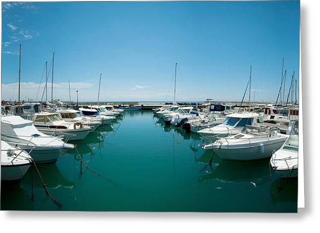 Masts Greeting Cards - Boats Docked In The Small Harbor Greeting Card by Panoramic Images