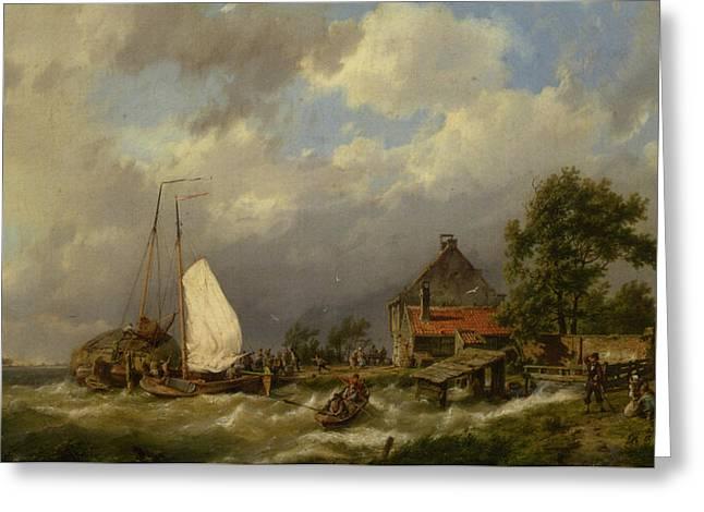 Row Boat Greeting Cards - Boats Docking In An Estuary Greeting Card by Hermanus Koekkoek