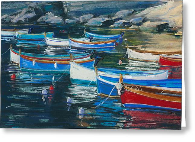 Fishing Boats Pastels Greeting Cards - Boats Early Morning Greeting Card by Susan Frank