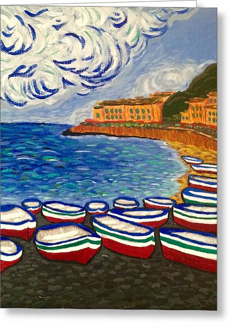 Ladnscape Greeting Cards - Boats Greeting Card by Evgenia Zarubin
