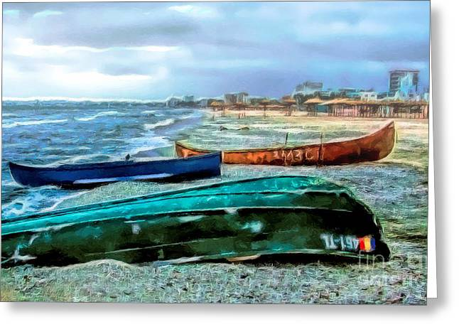 Sealife Posters Greeting Cards - Boats Greeting Card by GabeZ Art