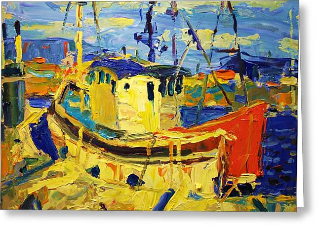 Boats At Dock Greeting Cards - Boats Ii Greeting Card by Brian Simons