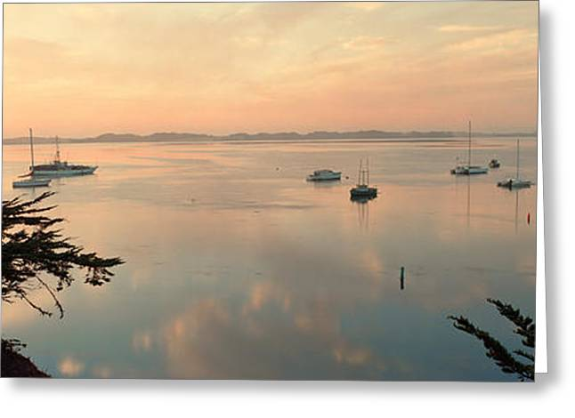 Morro Bay Greeting Cards - Boats In A Bay With Morro Rock Greeting Card by Panoramic Images