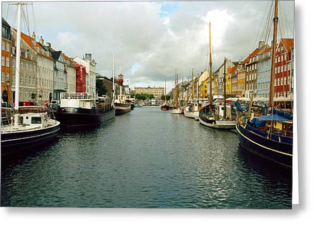 In-city Greeting Cards - Boats In A Canal, Nyhavn, Copenhagen Greeting Card by Panoramic Images
