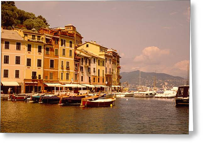 Portofino Italy Photographs Greeting Cards - Boats In A Canal, Portofino, Italy Greeting Card by Panoramic Images