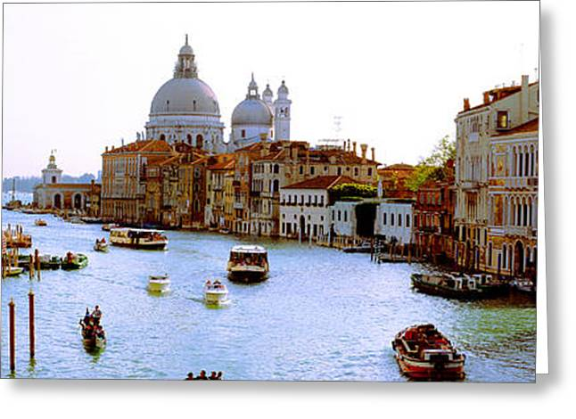 Boats In A Canal With A Church Greeting Card by Panoramic Images