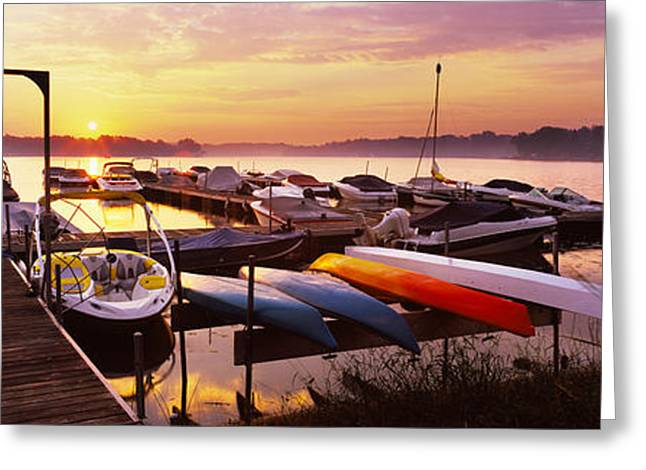 Champlain Greeting Cards - Boats In A Lake At Sunset, Lake Greeting Card by Panoramic Images