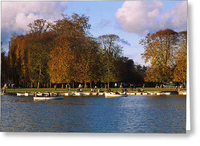 Photography Of Trees Greeting Cards - Boats In A Lake, Chateau De Versailles Greeting Card by Panoramic Images