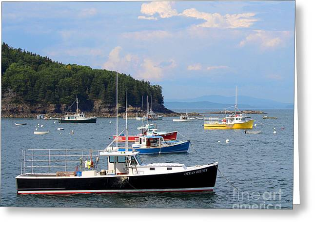 Recently Sold -  - Coastal Maine Greeting Cards - Boats in Bar Harbor Greeting Card by Jemmy Archer