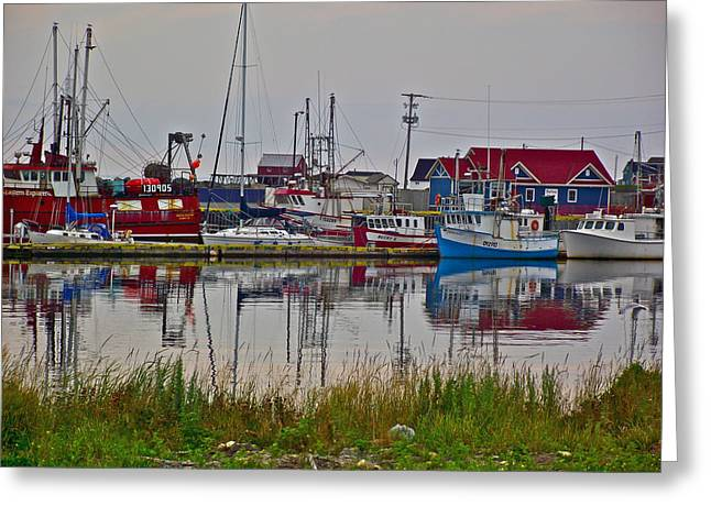 Boats In Harbor Digital Art Greeting Cards - Boats in Bonavista Harbour-NL Greeting Card by Ruth Hager